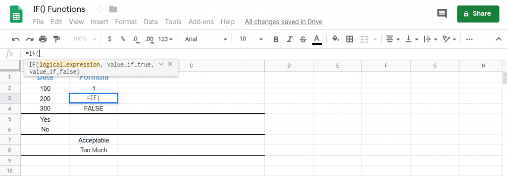 IF Functions in Google Sheets