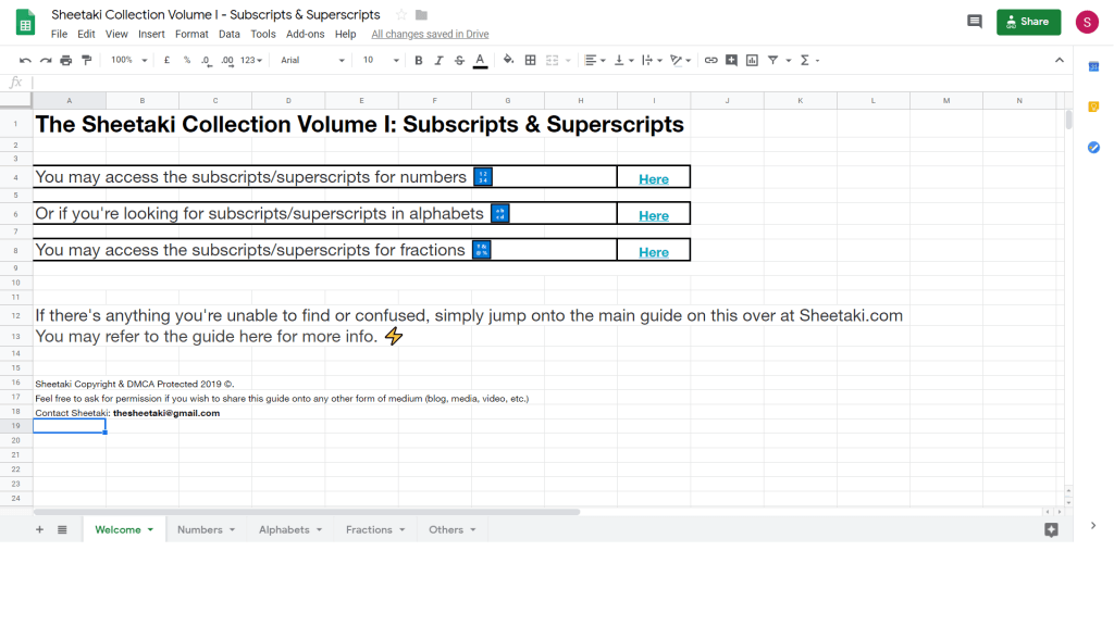 subscript and superscript numbers in Google Sheets