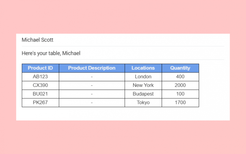 how to insert Excel table in Gmail with borders