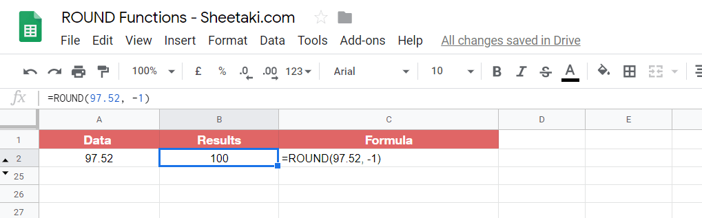 ROUND numbers in Google Sheets
