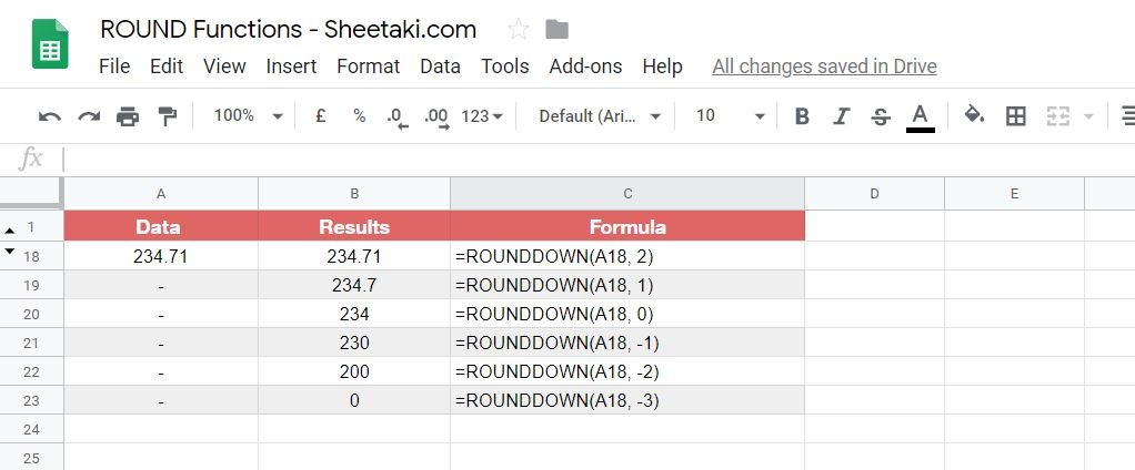 ROUNDDOWN Numbers in Google Sheets
