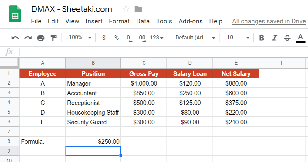 DMAX Function in Google Sheets