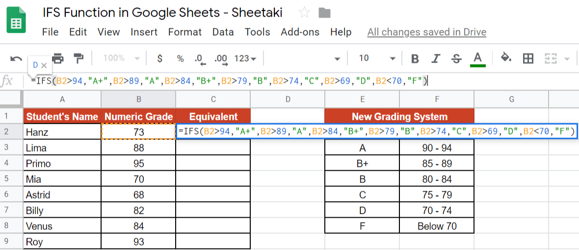 IFS Function in Google Sheets