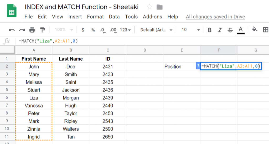 INDEX and MATCH Function in Google Sheets