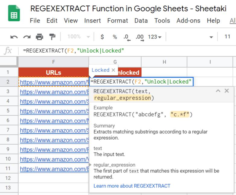 REGEXEXTRACT Function in Google Sheets