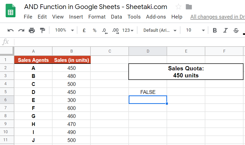 AND Function in Google Sheets