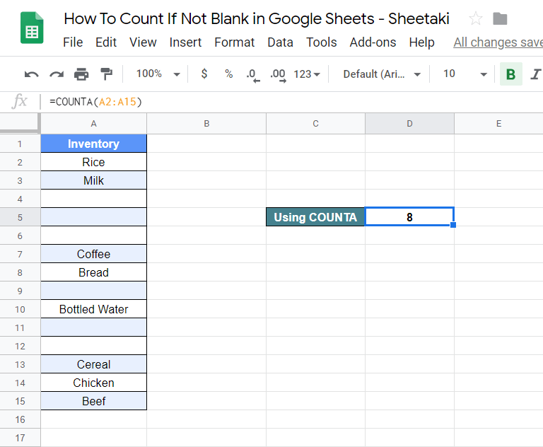 Count If Not Blank in Google Sheets