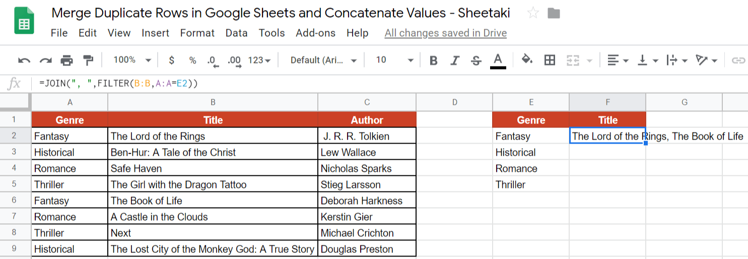 Merge Duplicate Rows in Google Sheets and Concatenate Values