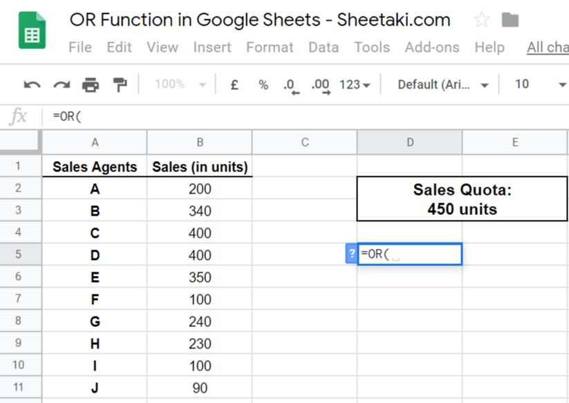 OR Function in Google Sheets