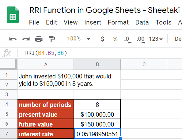RRI Function in Google Sheets