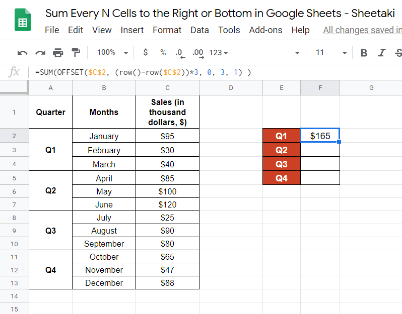 Sum Every N Cells to the Right or Bottom in Google Sheets
