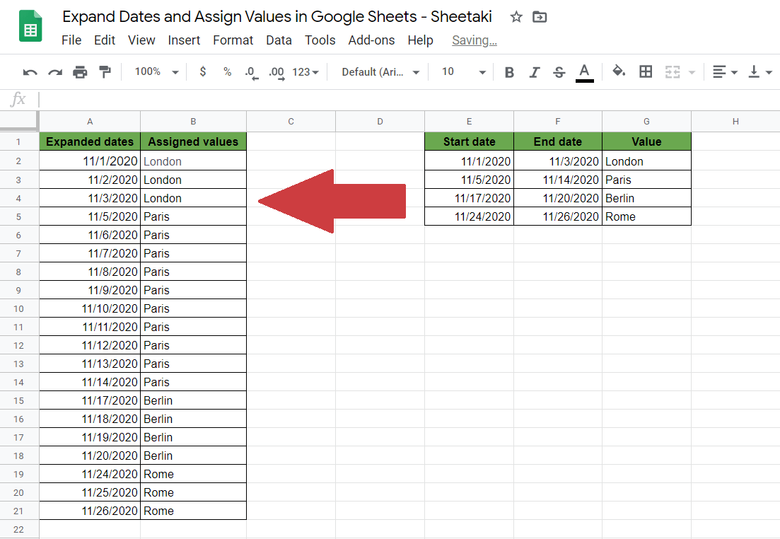 Expand Dates and Assign Values in Google Sheets