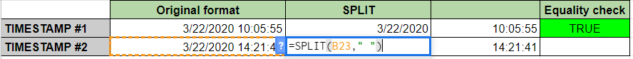 Extract Date from Timestamp Using SPLIT in Google Sheets