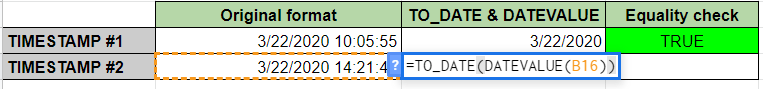 Extract Date from Timestamp Using TO_DATE in Google Sheets