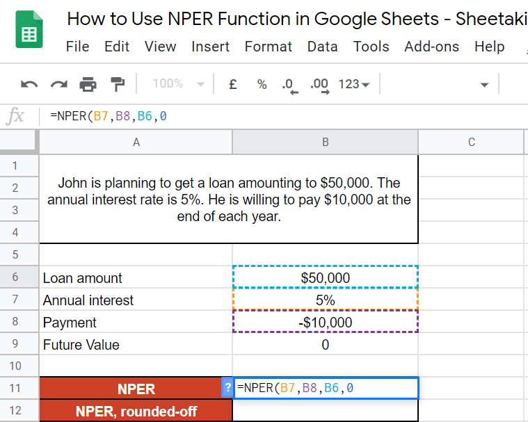 NPER Function in Google Sheets