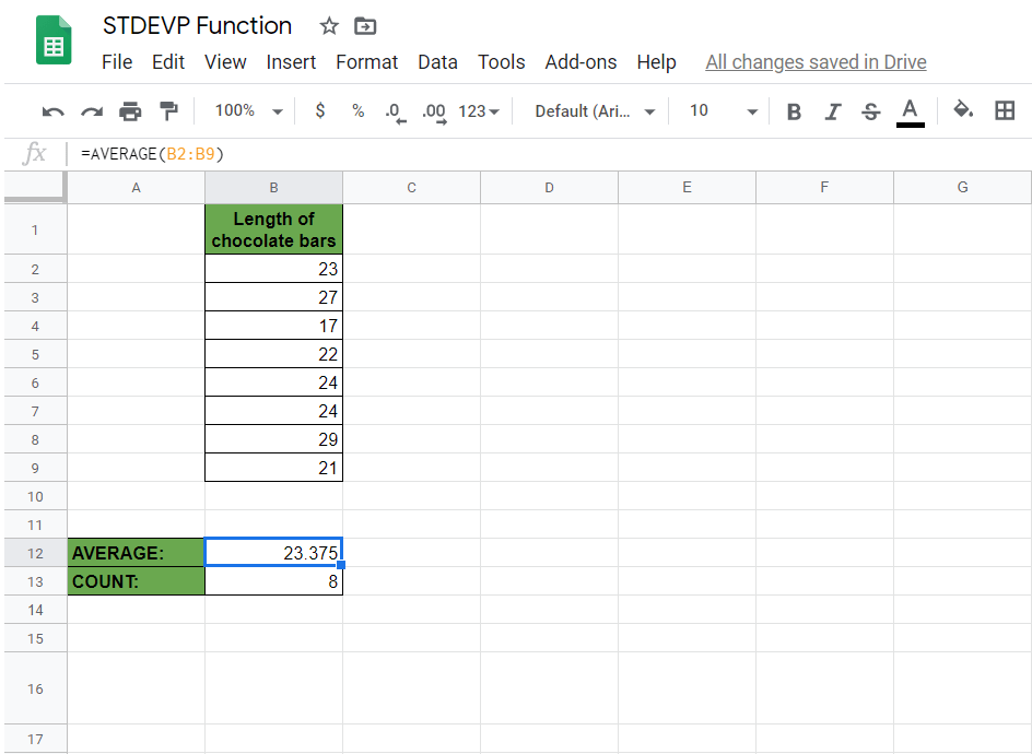 STDEVP Function in Google Sheets