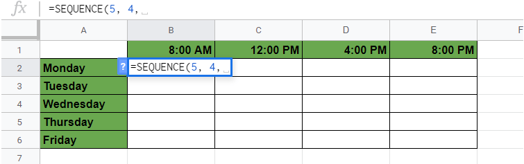 SEQUENCE Function in Google Sheets