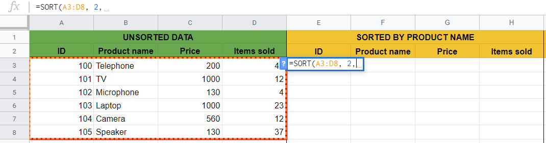 SORT Function in Google Sheets