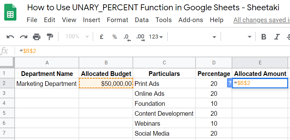 UNARY_FUNCTION in Google Sheets