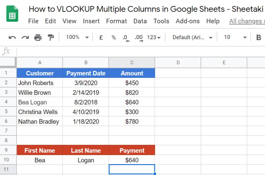 VLOOKUP Multiple Columns in Google Sheets