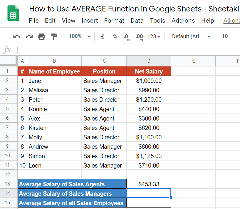 AVERAGE Function in Google Sheets