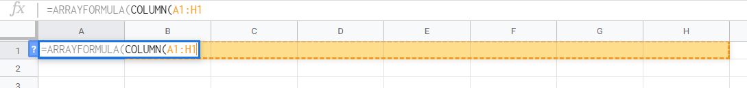 COLUMN Function in Google Sheets