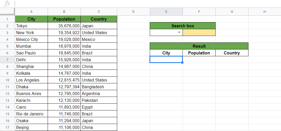 Create a Search Box Using QUERY in Google Sheets