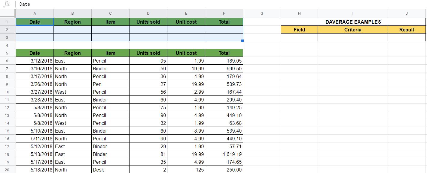 DAVERAGE Formula in Google Sheets