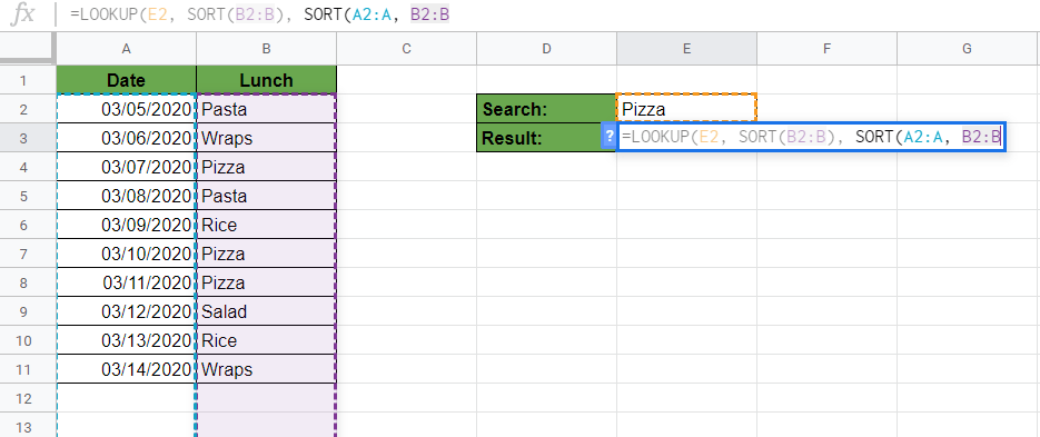 Find the Last Matching Value in Google Sheets