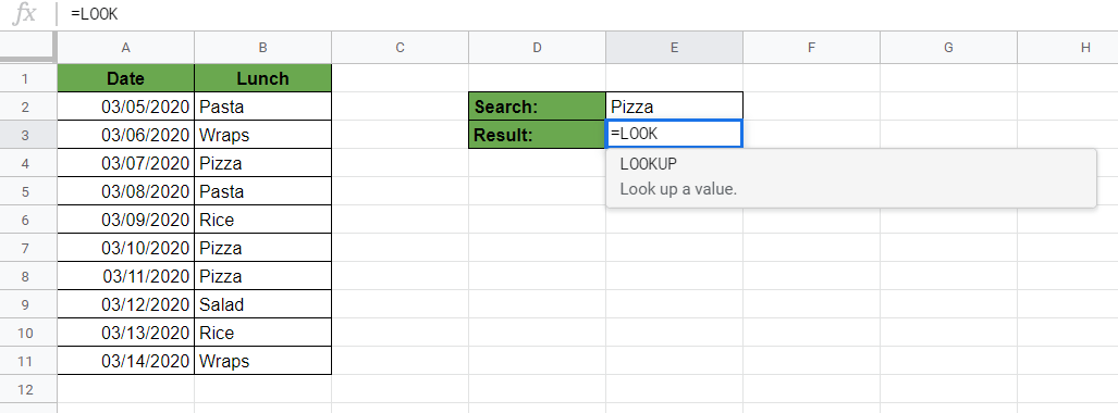 Writing LOOKUP Function