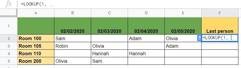 Find The Last Value in Each Row in Google Sheets