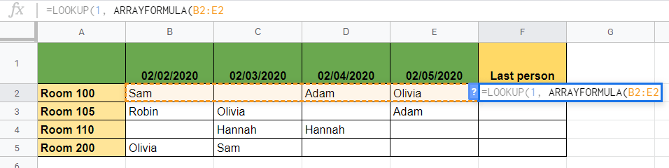 Using LOOKUP Function in Google Sheets