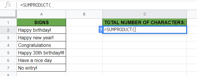 SUMPRODUCT Function