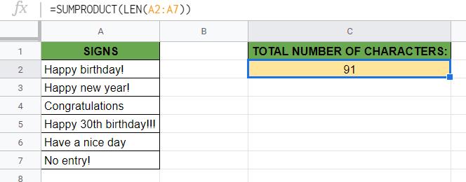LEN Function in Google Sheets