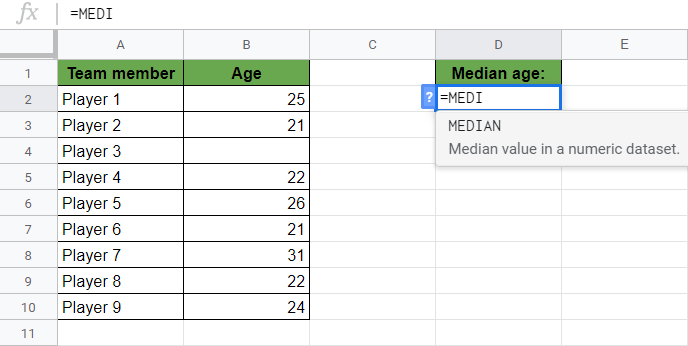 MEDIAN Function in Google Sheets