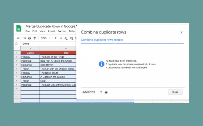 Merge Duplicate Rows in Google Sheets