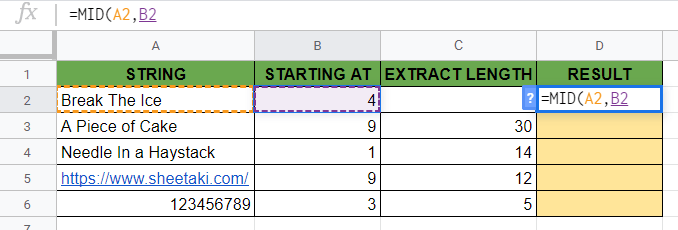 MID Function in Google Sheets