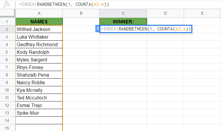 Pick a Random Name from a Long List in Google Sheets