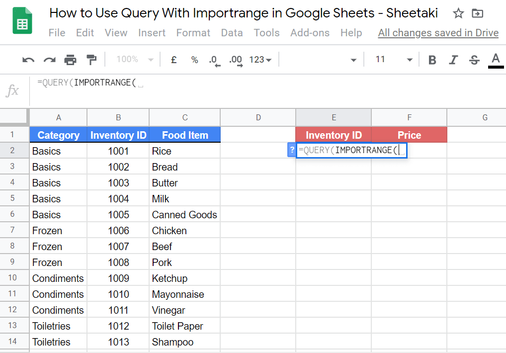 QUERY WITH IMPORTRANGE Functions in Google Sheets