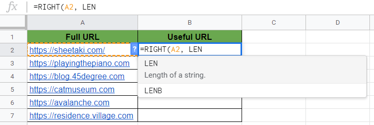 RIGHT Function in Google Sheets