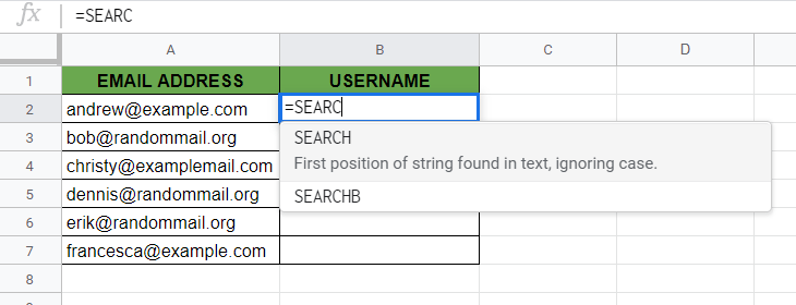 SEARCH Function in Google Sheets