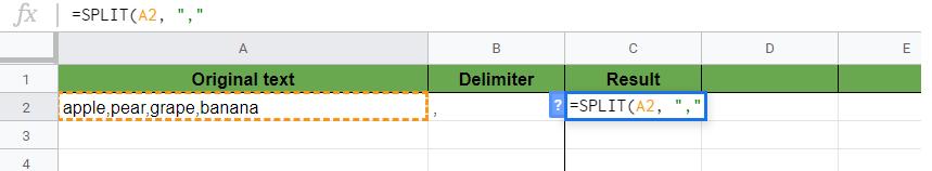 SPLIT Function in Google Sheets