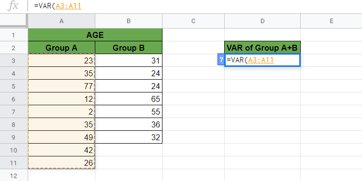 VAR Function in Google Sheets