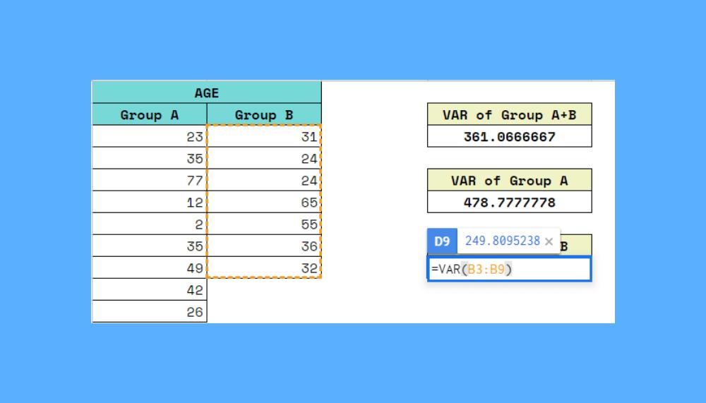 VAR Function in Google Sheets