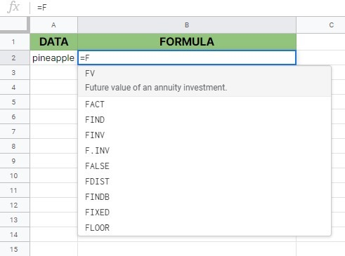 FIND function in Google Sheets