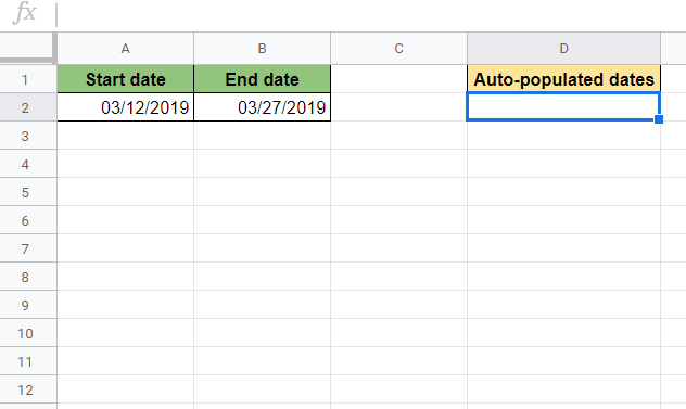 Auto-Populate Dates Between Two Given Dates in Google Sheets