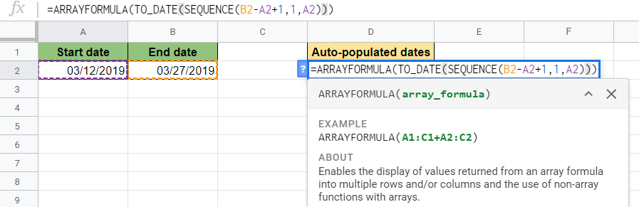 ARRAYFORMULA Function in Google Sheets