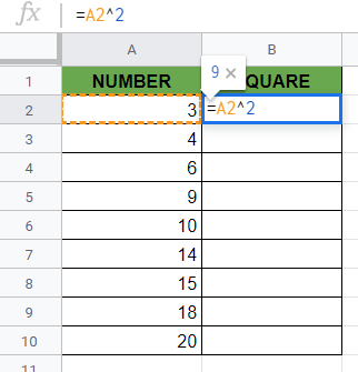 Selecting the Cell to Copy Down Formula