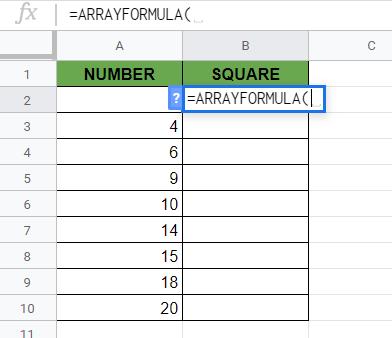 Writing Out ARRAYFORMULA Function