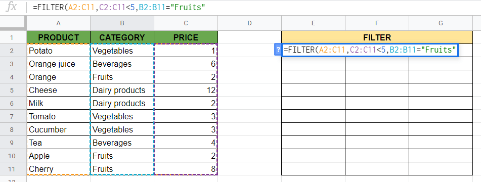 FILTER Function in Google Sheets